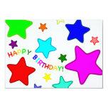 Estrellas del cumpleaños del arco iris invitación 8,9 x 12,7 cm