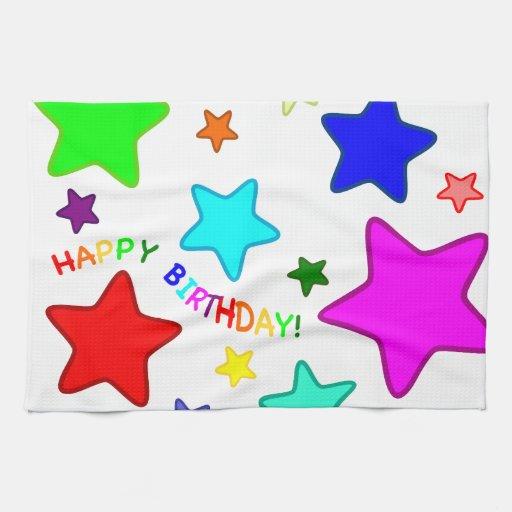 Estrellas del cumpleaños del arco iris toalla de cocina