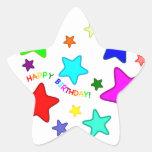 Estrellas del cumpleaños del arco iris calcomania cuadrada personalizada