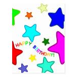 Estrellas del cumpleaños del arco iris postal