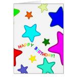 Estrellas del cumpleaños del arco iris tarjeta de felicitación