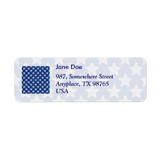 Estrellas del deslumbramiento en azul etiqueta de remitente