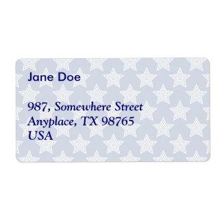 Estrellas del deslumbramiento en azul etiquetas de envío