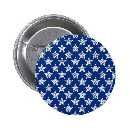 Estrellas del deslumbramiento en azul pin redondo 5 cm