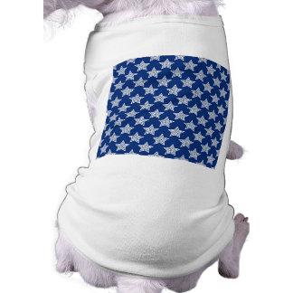 Estrellas del deslumbramiento en azul playera sin mangas para perro