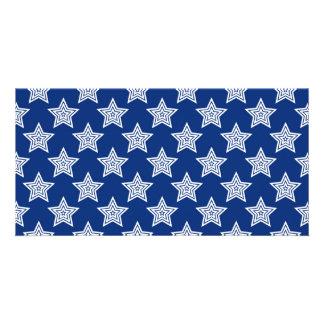 Estrellas del deslumbramiento en azul tarjetas fotográficas