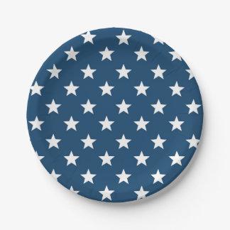 Estrellas del Día de la Independencia en blanco en Plato De Papel De 7 Pulgadas