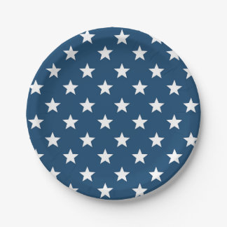 Estrellas del Día de la Independencia en blanco en Platos De Papel