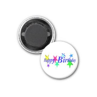 Estrellas del feliz cumpleaños imán redondo 3 cm