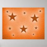 Estrellas del naranja en el poster del cielo noctu