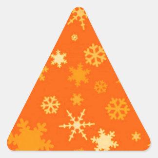 Estrellas del naranja y del oro festivas pegatinas triangulo