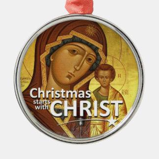 Estrellas del navidad con el ornamento de Cristo Adorno Redondo Plateado