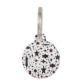 Estrellas del navidad en blanco placas para mascotas