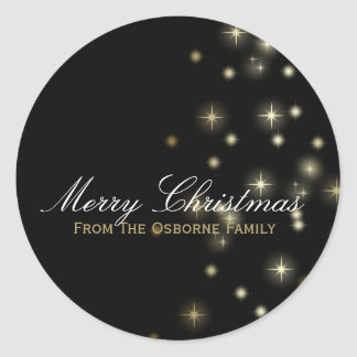 Estrellas del navidad festivas pegatina redonda