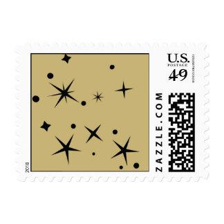 Estrellas del negro en fondo del oro sellos