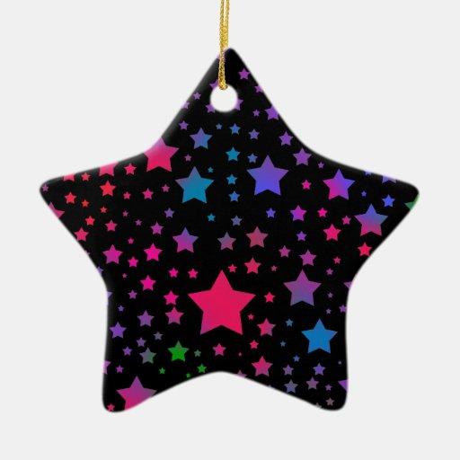 Estrellas del neón adorno navideño de cerámica en forma de estrella