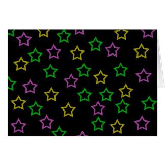 Estrellas del neón tarjeta de felicitación