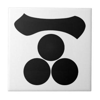 Estrellas del número uno y tres del kanji azulejo cuadrado pequeño