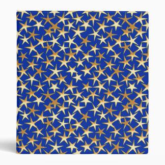 Estrellas del oro en azul de cobalto carpeta 2,5 cm