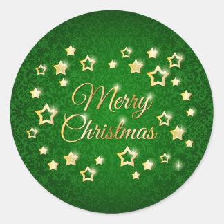Estrellas del oro en Felices Navidad del damasco Pegatina Redonda