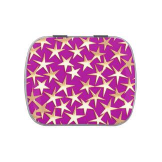 Estrellas del oro en púrpura amethyst frascos de caramelos