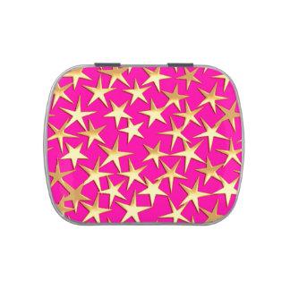 Estrellas del oro en rosa fucsia frascos de caramelos