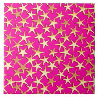Estrellas del oro en rosa magenta azulejos cerámicos