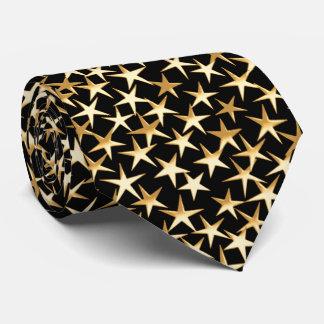 Estrellas del oro en un fondo negro corbatas personalizadas