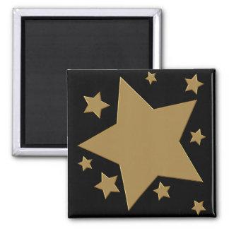 Estrellas del oro imán cuadrado