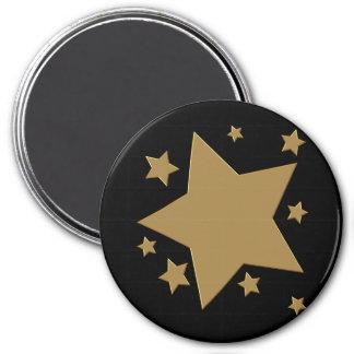 Estrellas del oro imán redondo 7 cm