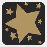 Estrellas del oro calcomanía cuadrada personalizada