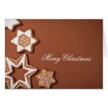 Estrellas del pan de jengibre del navidad en el pa tarjetas