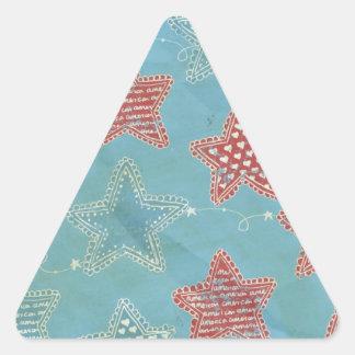 Estrellas del pañuelo pegatina triangular