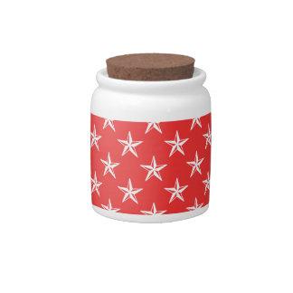 estrellas del patriota 3D en rojo Plato Para Caramelo