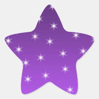 Estrellas del púrpura y blancas, modelo pegatina en forma de estrella