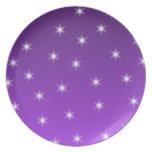 Estrellas del púrpura y blancas, modelo platos para fiestas