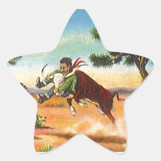 Estrellas del rodeo de Wrangler del buey del Pegatina En Forma De Estrella