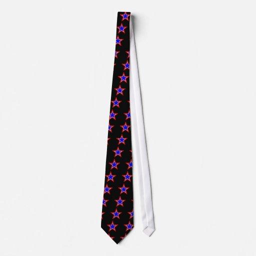 Estrellas del rojo, blancas y azul apilado corbata personalizada