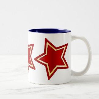 Estrellas del rojo con oro taza de café de dos colores