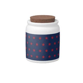 Estrellas del rojo en azul del patriota tarro de cerámica para dulces