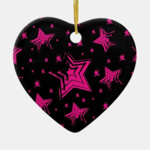 Estrellas del rosa en background.jpg negro adorno navideño de cerámica en forma de corazón