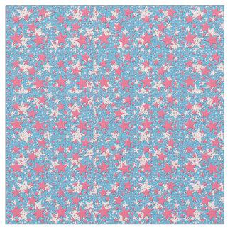 Estrellas del rosa y del blanco en la materia telas