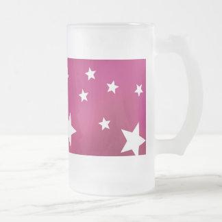 Estrellas del rosa y del blanco taza de cristal