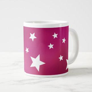 Estrellas del rosa y del blanco taza grande