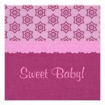 Estrellas del rosa y fiesta de bienvenida al bebé  comunicados personalizados