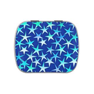 Estrellas del satén, azul claro en el cobalto jarrones de dulces