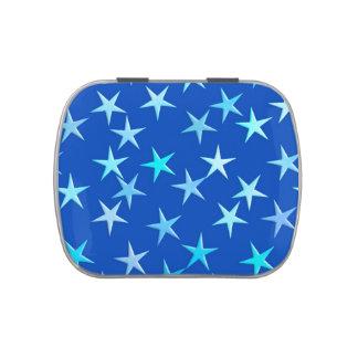 Estrellas del satén, azul claro en el cobalto latas de dulces