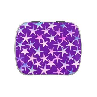 Estrellas del satén, lavanda en púrpura latas de dulces