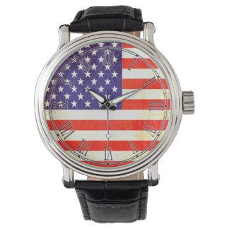 Estrellas del vintage y reloj romano de la bandera