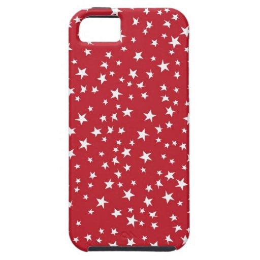 Estrellas dispersadas rojo iPhone 5 carcasas